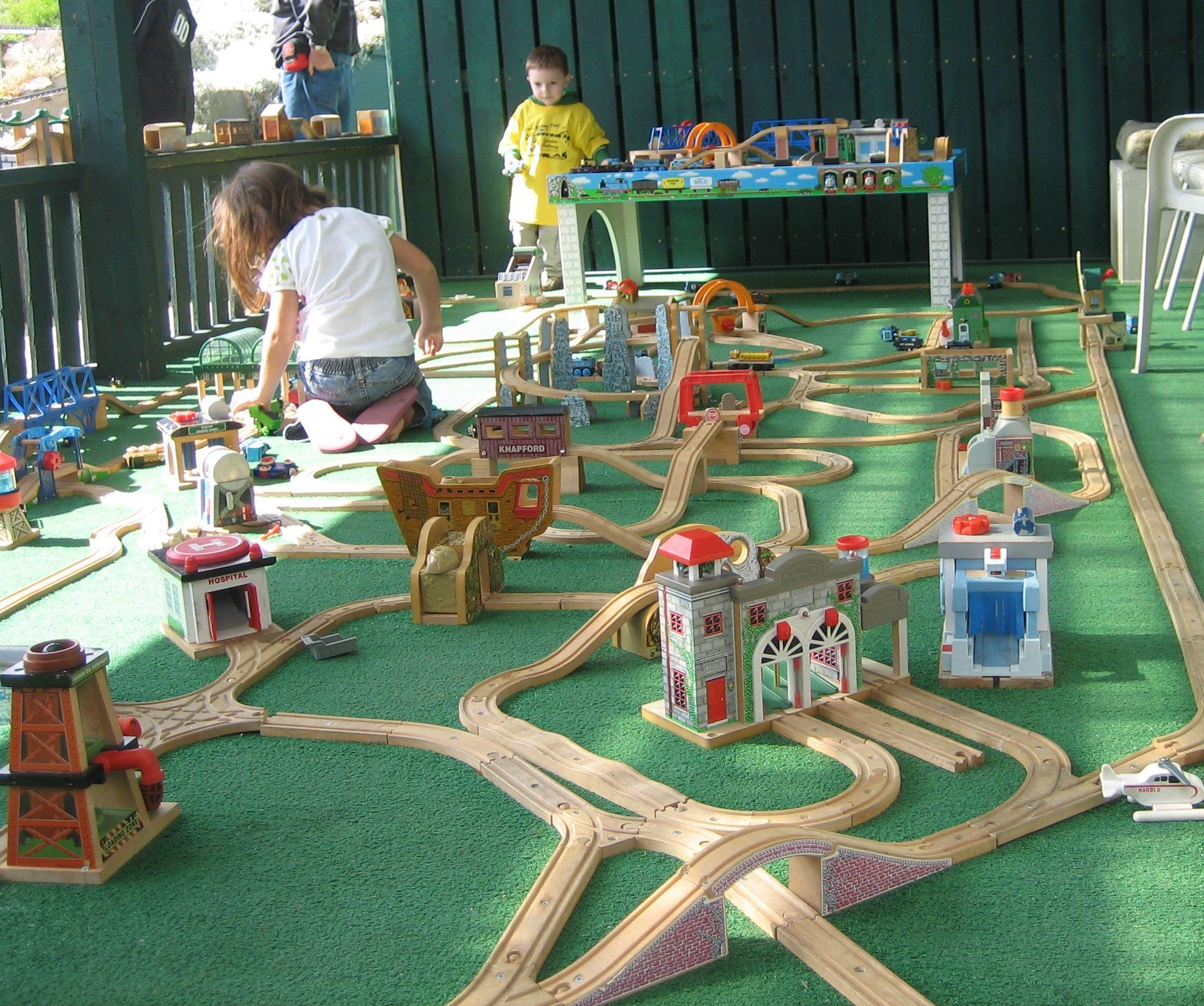 A Thomas train layout at Big Sky Garden Railway in Nanton Alberta