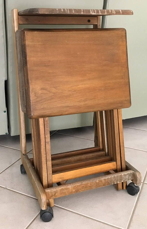 Vintage 5 Pc Solid Wood Tv Tray Tables Stand With Flip Top Castors