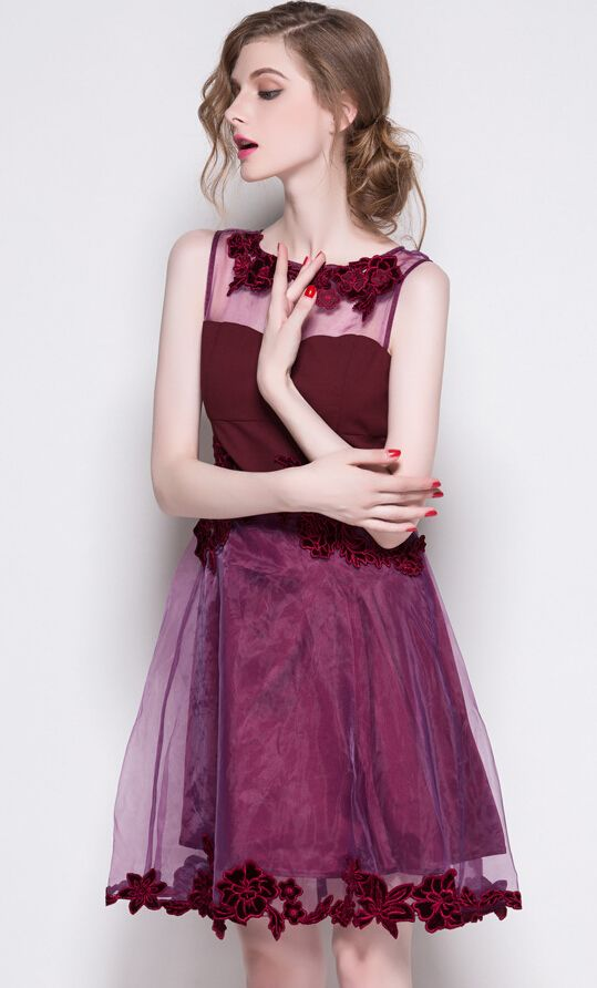 Organza hollow-out floral embroidery sleeveless dresses | Prom ...