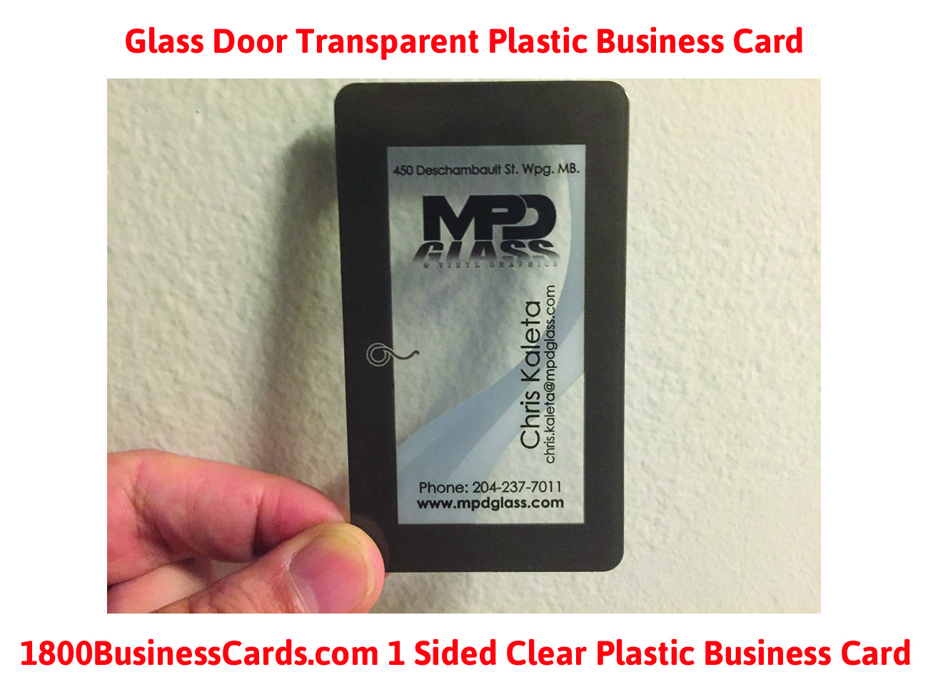 A glass door plastic business card printed at 1800businesscards ...