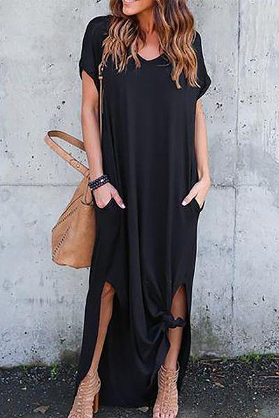 fdb16780e5c Chicnowa Solid Color Casual Maxi Dress – chicnowa