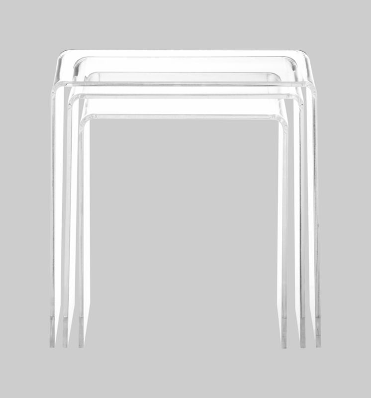 peekaboo clear nesting tables set of 3 in accent tables CB2