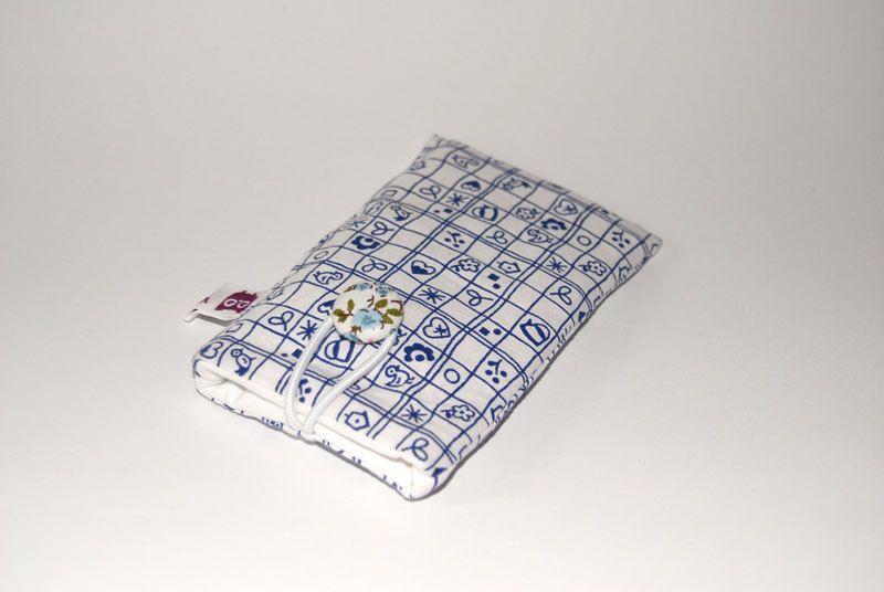 Handytasche Handyhülle Handysocke ♥Westfalenkaros weiß♥ Handytasche aus Bauwollstoff