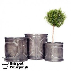 Fibreclay Faux Lead Garden Planters Chelsea Cylinder Round