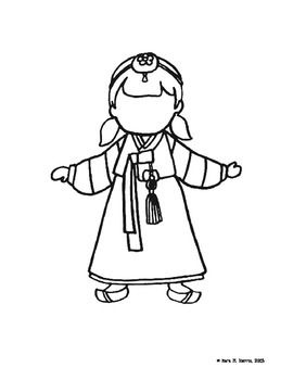 Korea Coloring Pages Paper Projects Pinterest Korea Coloring - Korean-hanbok-coloring-pages