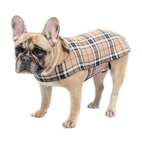 Béžový károvaný psí kabátik allá bááárberi French