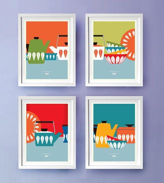 Mod Kitchen Mid Century Modern Poster Kitchen Art Kitchen Wall Print