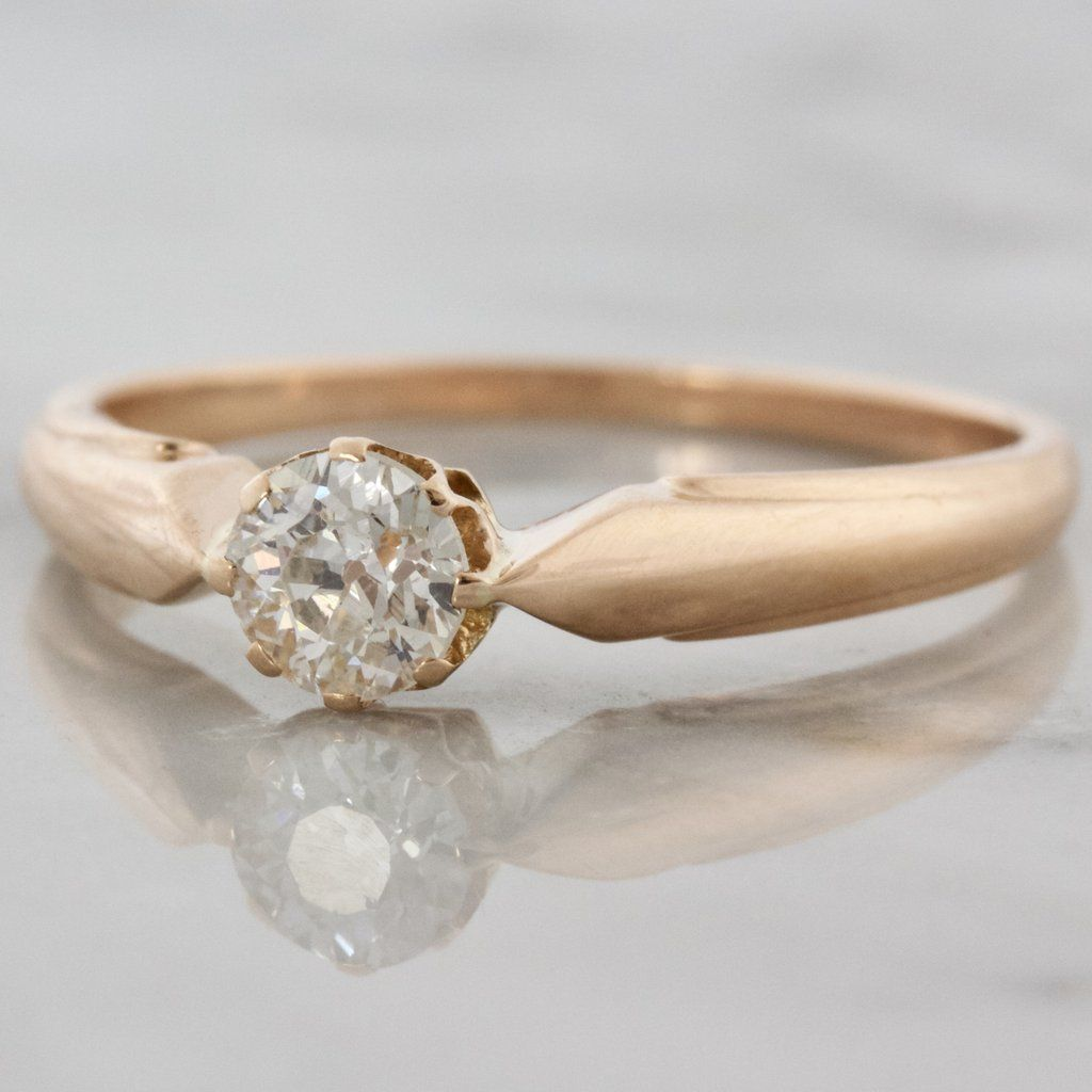 Vintage diamond pink gold solitaire engagement ring wedding