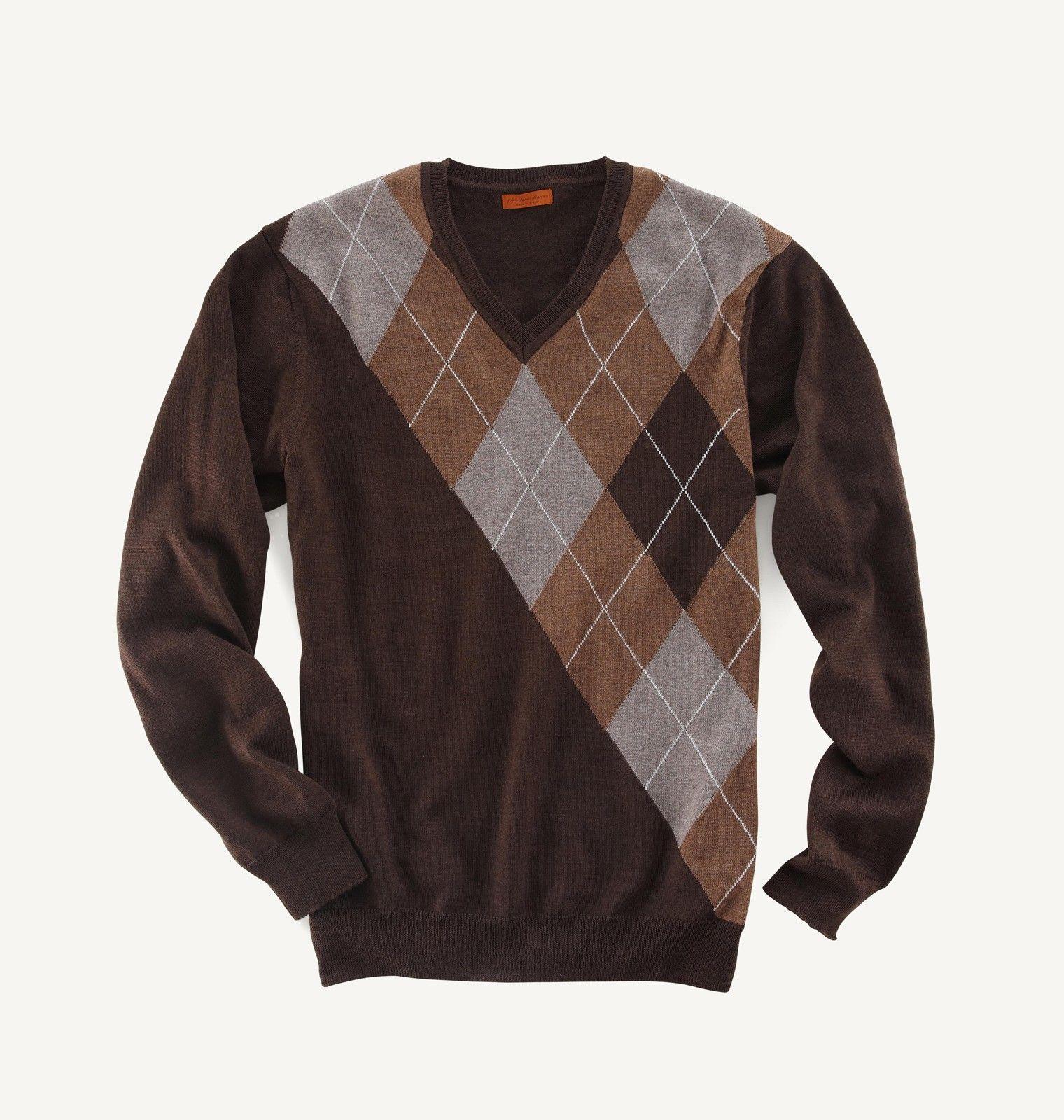 Asymmetrical Argyle V-Neck Mens Designer Sweater: Available in ...
