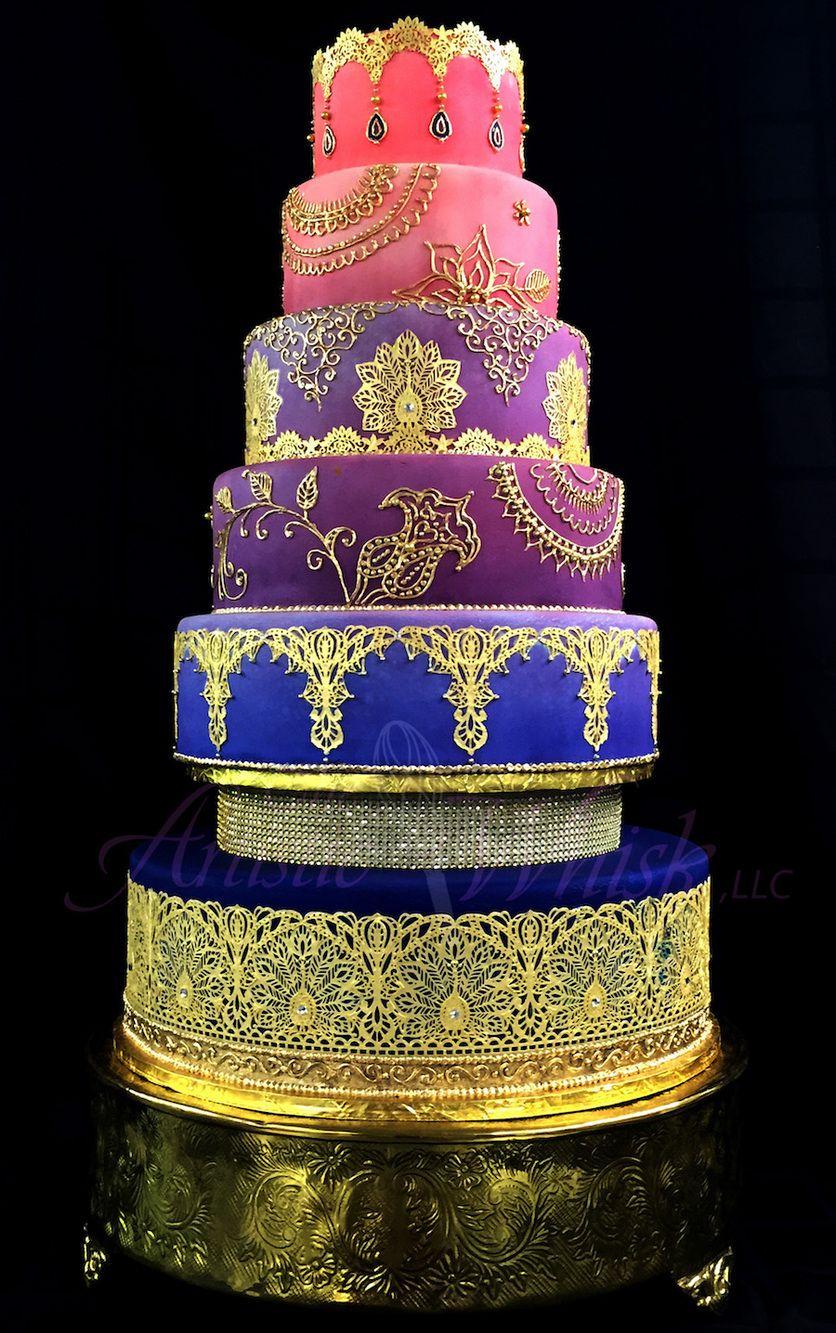 1021 Gold Henna Scroll Wedding Cake Wedding Cakes Pinterest