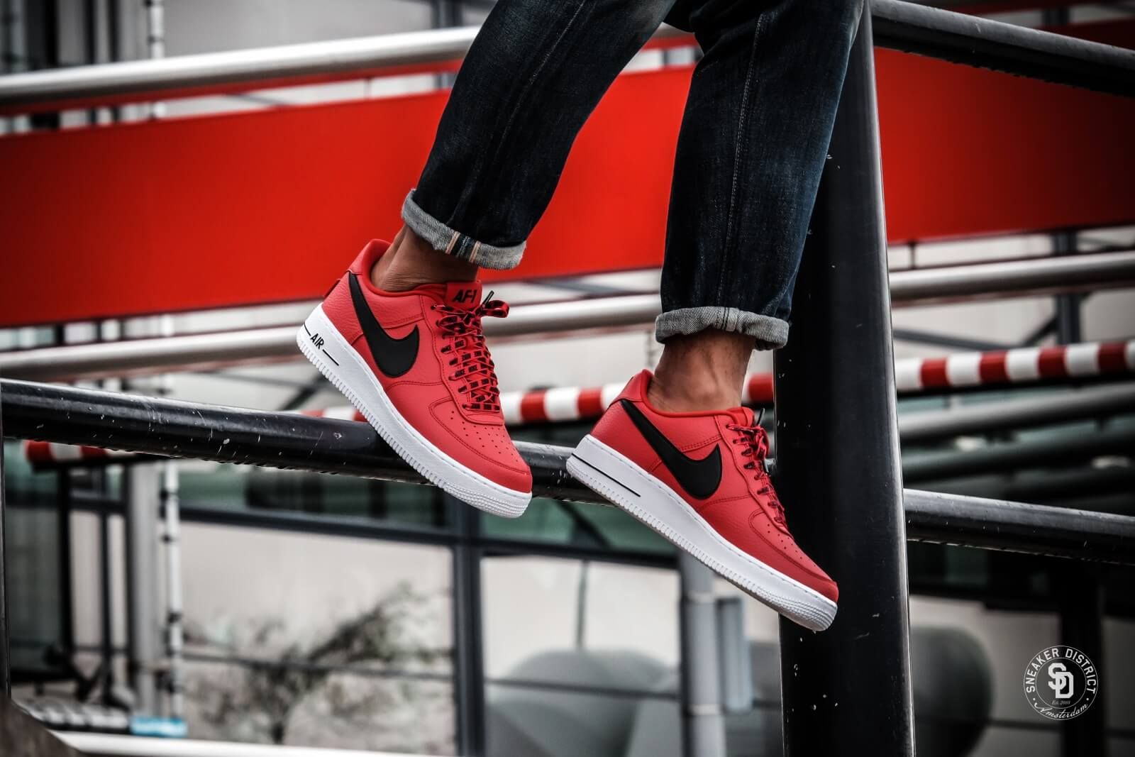 5fab616dd8f0 Nike Air Force 1  07 LV8 NBA Pack University Red Black - 823511-604 ...