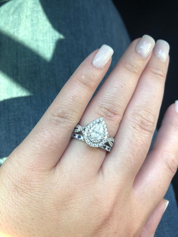 Vera Wang Love Collection 1 5 8 Ct T W Pear Shaped Diamond Double Frame Twist Engagement Ring In 14k White Gold Zales In 2020 Engagement Rings Twisted Vera Wang Engagement Rings Pear Shaped Diamond