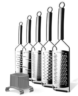 The Microplane Professional Grater Set, dishwasher-safe, featuring all stainless steel construction, comfortably curved handles and non-slip rubber feet. Available in five unique blade styles.