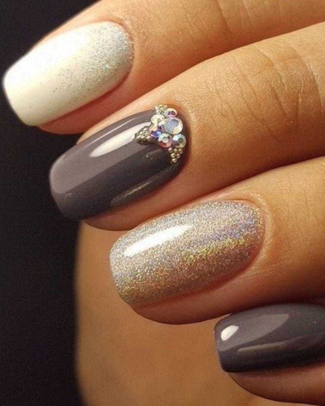 💅 101 Trending Nail Art Ideas   Gray nails, Nail nail and Prom nails