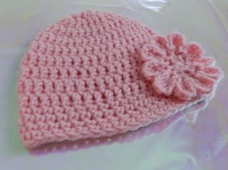 Free Easy Crochet Baby Hat Pattern With Crochet Flower How To Crochet A Hat Crochet Baby Hat Patterns Easy Crochet Baby Hat Baby Beanie Crochet Pattern