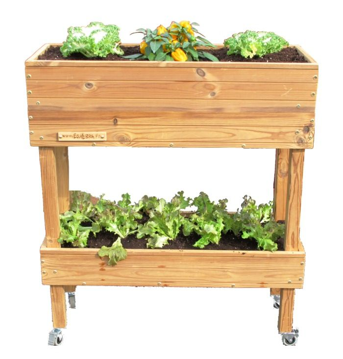 potager mobile double hauteur sur roulette quoi planter. Black Bedroom Furniture Sets. Home Design Ideas