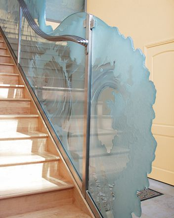 Best Etched Glass Staircase Carved Glass Railing 400 x 300