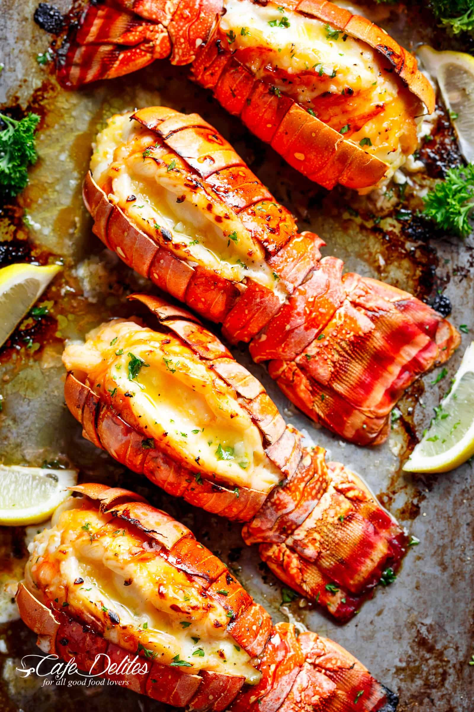 Broiled Lobster Tails With Honey Garlic Butter White Wine Sauce Is A Fancy Classy And Best Of Al Lobster Recipes Tail White Wine Sauce Recipes Lobster Recipes