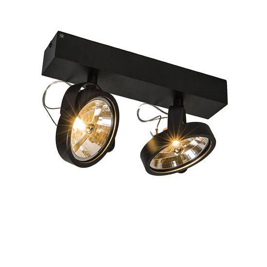 bol.com | QAZQA Go - Spot - 2 Lichts - Zwart | Wonen | Verlichting ...