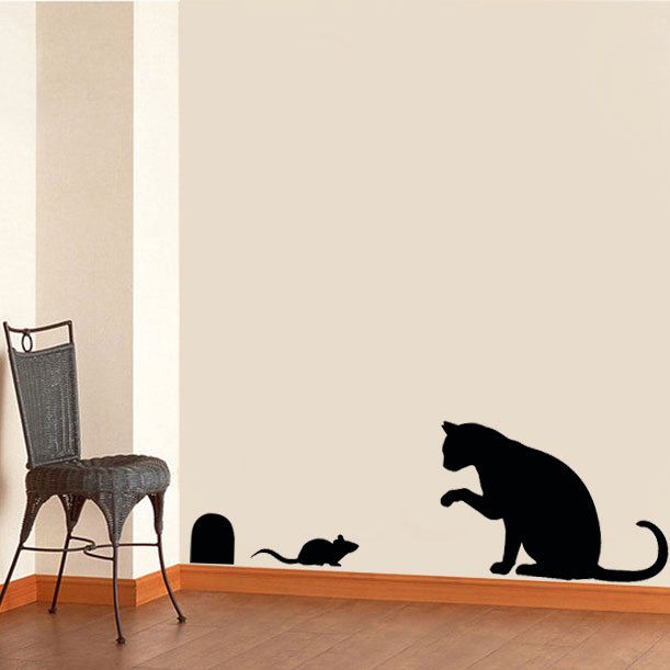 Cat Wall Decor cat & mouse stencil, cat home decor, cat wall stencil, painting