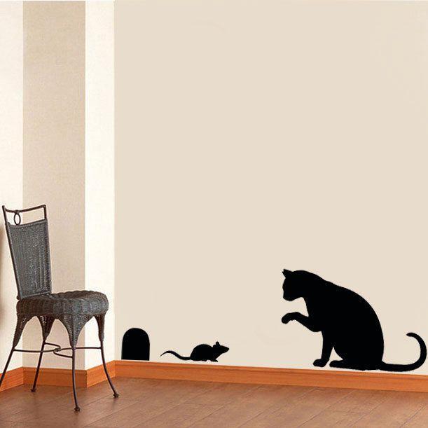 Cat Mouse Stencil Home Decor