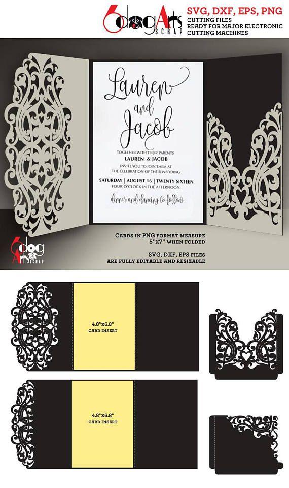 2 lace wedding invitation card envelope templates digital cut