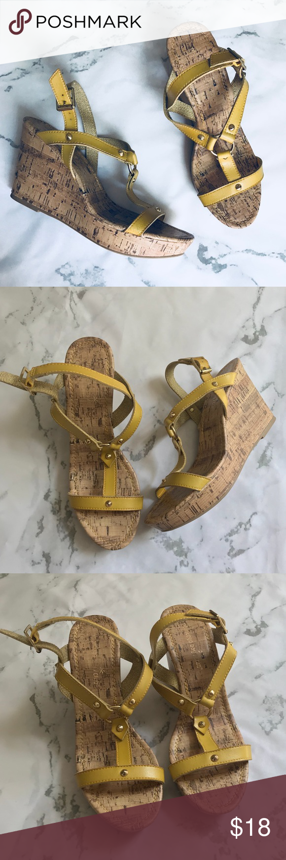 "647bb4c7258fd Montego Bay mustard gold wedge sandals Gently worn. No imperfections  signs  of wear. 4"" heel   wedge Montego Bay Club Shoes Wedges"