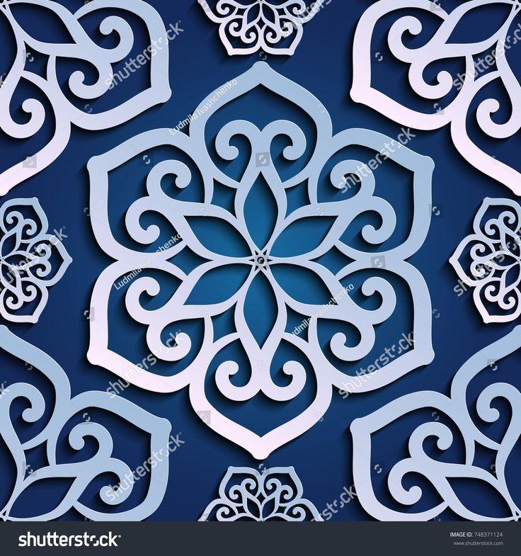 Seamless pattern blue 3d paper mandala lace element 3D wallpapers  f
