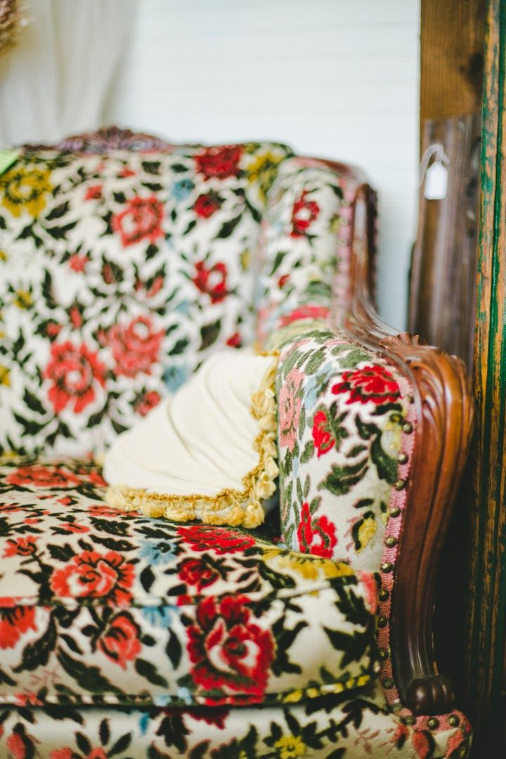 A Blooming Marvelous Chair! Bohemian Boho Gypsy Vintage Victorian Armchair  Floral Print Uphosltry Pattern Yellow Pink Red Roses Fabric Interior Design  ...