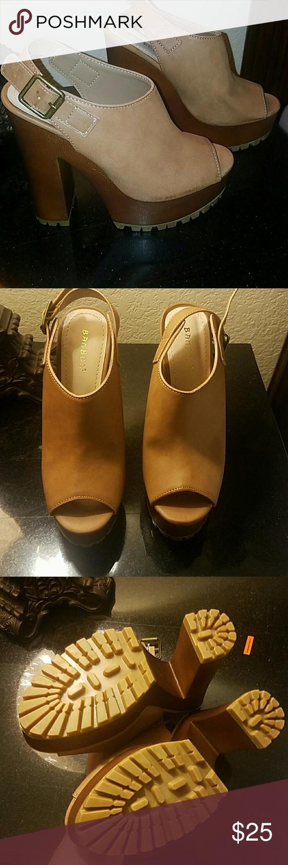 NEW Platform  tan & brown heels mule shoe Never worn Shoes Mules & Clogs