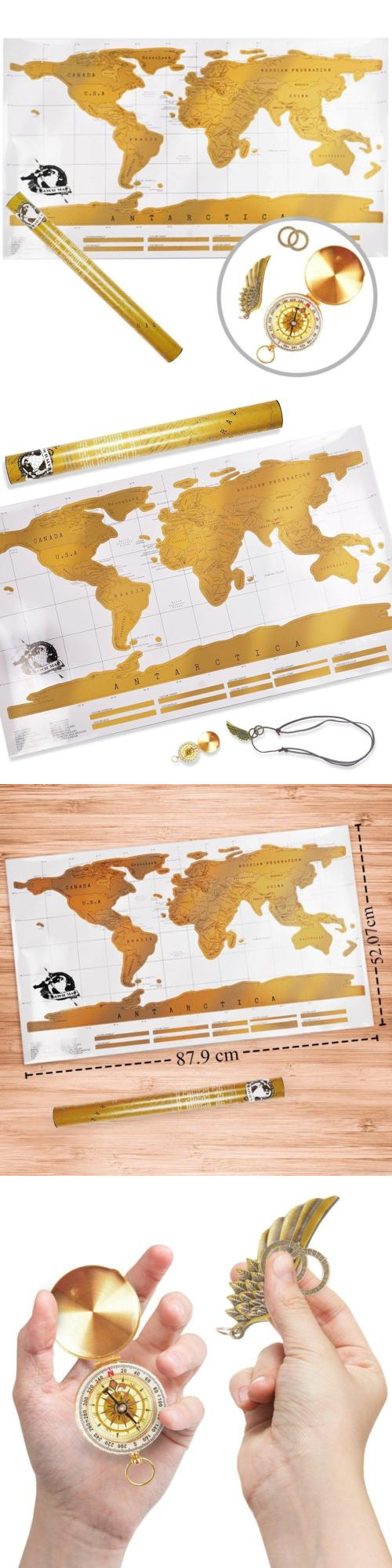 Other travel maps 164807 scratch off world map with a gold other travel maps 164807 scratch off world map with a gold compass best gift gumiabroncs Image collections