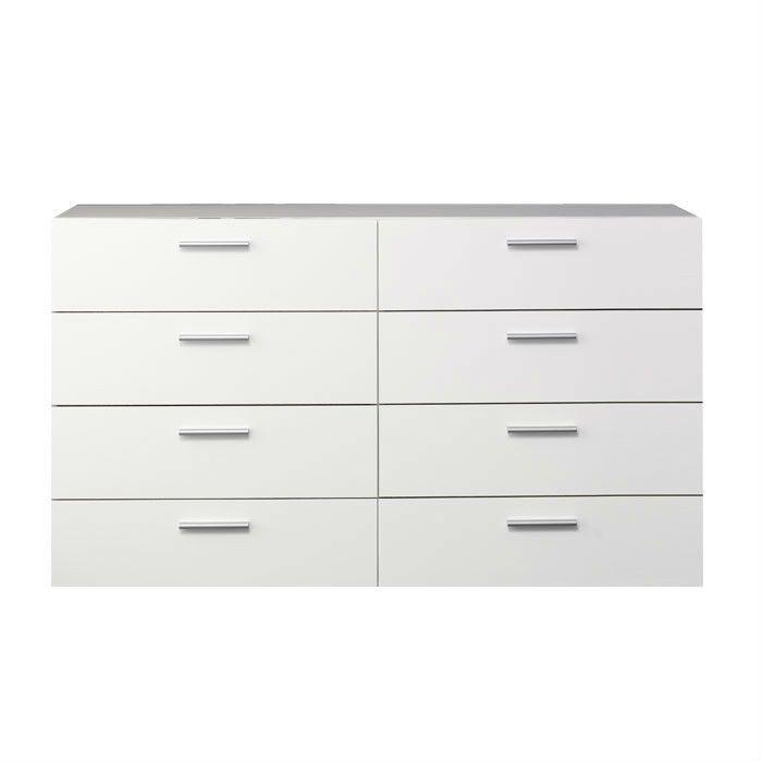 Best White Modern Bedroom 8 Drawer Double Dresser – Hearts 400 x 300
