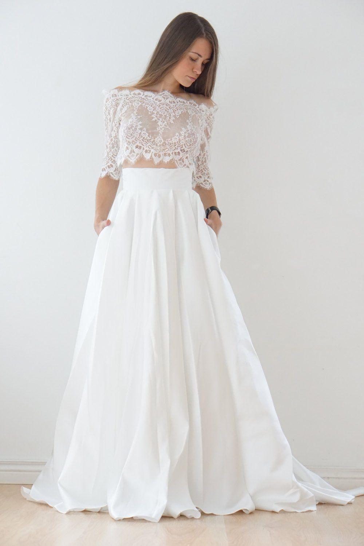 Crop Top wedding dress, satin wedding dress, lace top