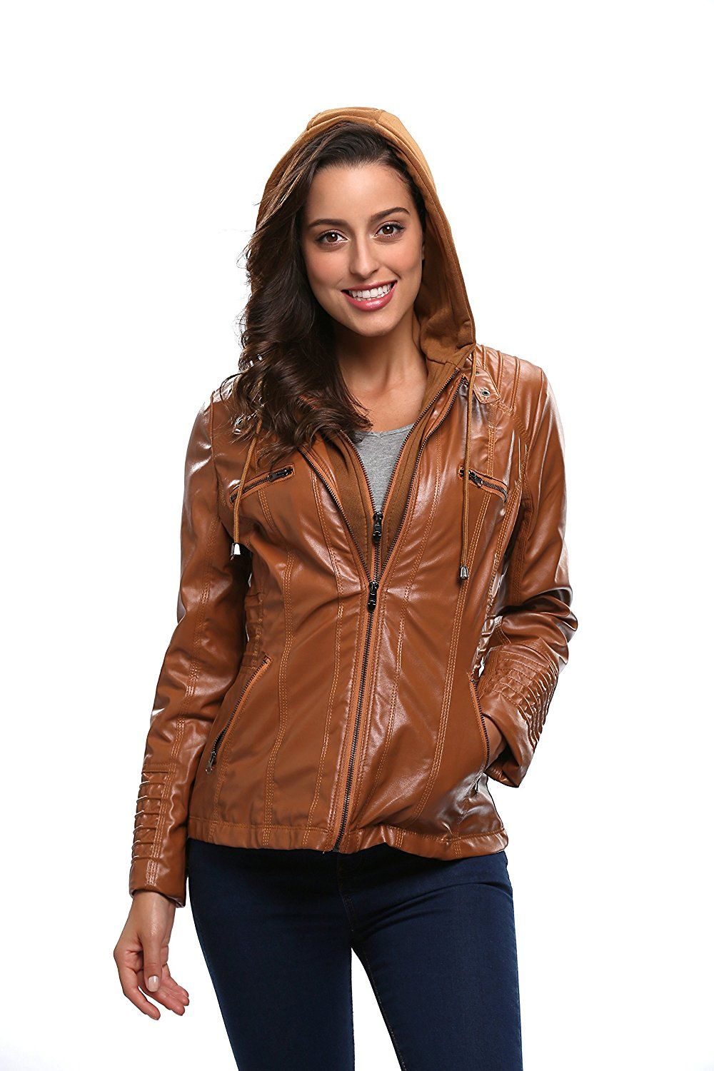 Women hooded faux leather jacket Одежда