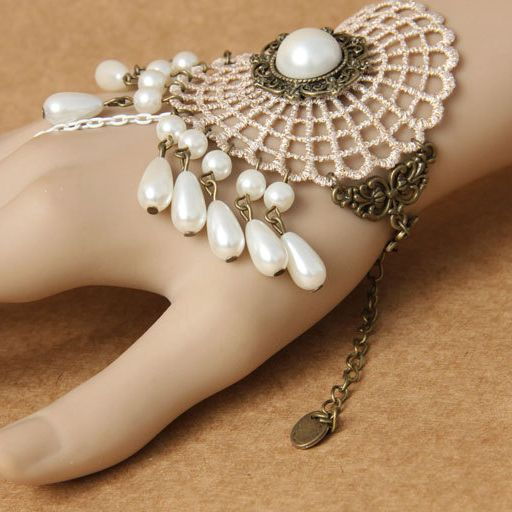 White Lace DIY Bracelet Accessories with Pearl and Ring Lolita Bracelet and Ring Jewelry Set Ebay Hot Item $4.25  #Lovejoynet #Lolita #Bracelet