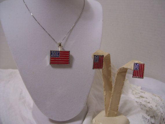 Patriotic Flag Jewelry Set Red Silver Blue by ARubyInTheRough, $17.95