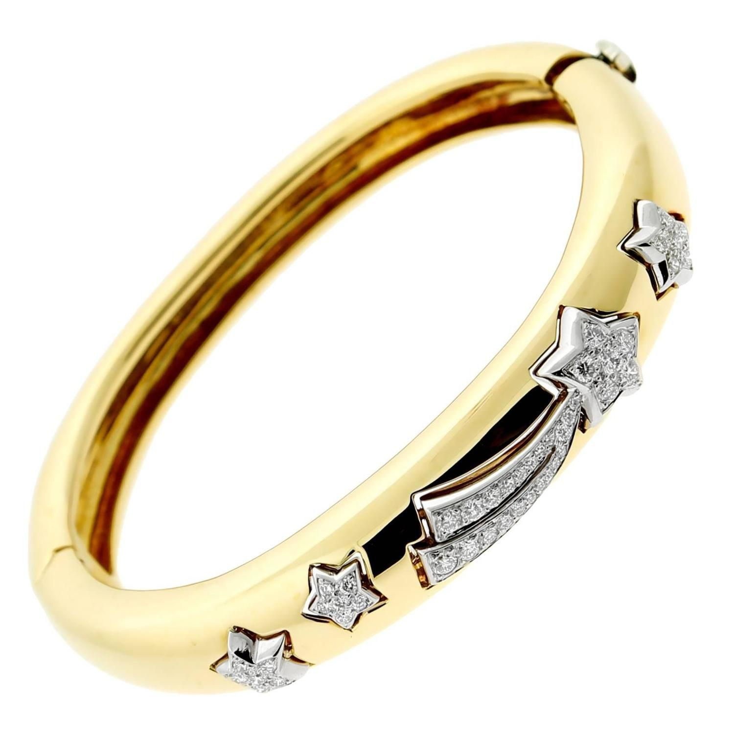 Chanel comete diamond gold bangle bracelet gold bangles bangle