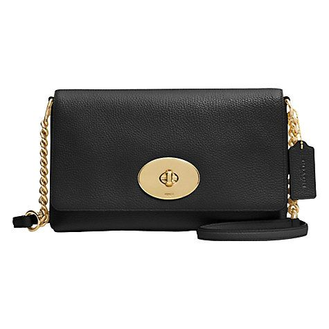 d2cdd574fcc Buy Coach Crosstown Leather Across Body Bag, Black Online at johnlewis.com