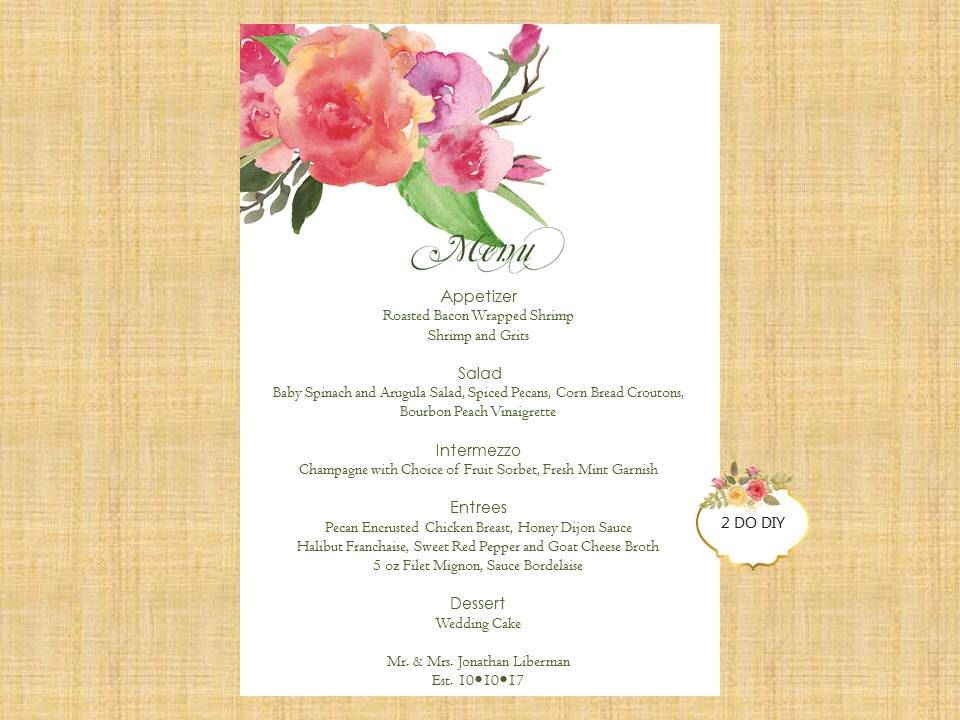 Floral Printable Menu \/ 5x7 Menu Cards \/ DIY Menu Template - microsoft word menu templates