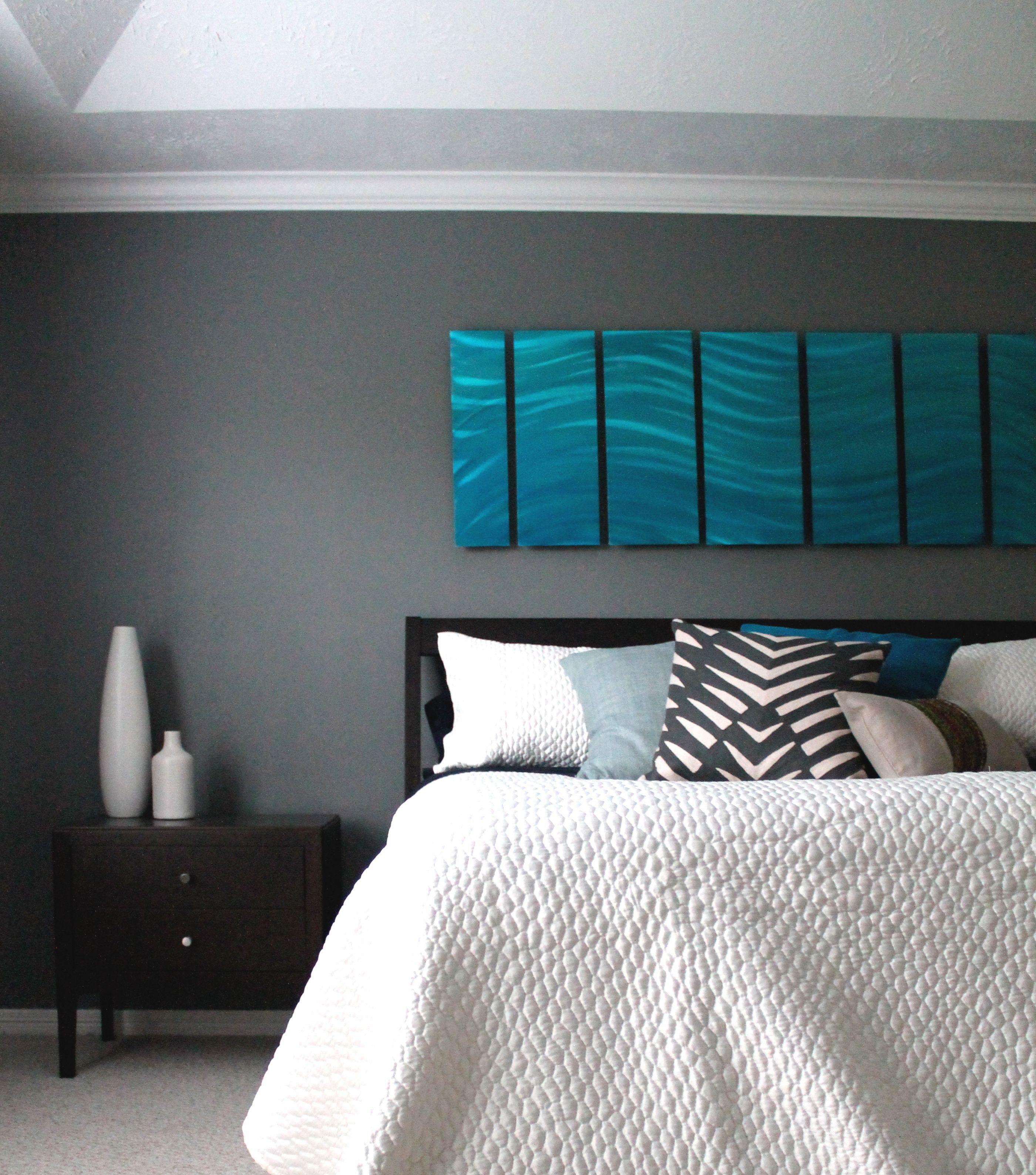 Modern Urban Master bedroom Houston Texas Blue Art Grey