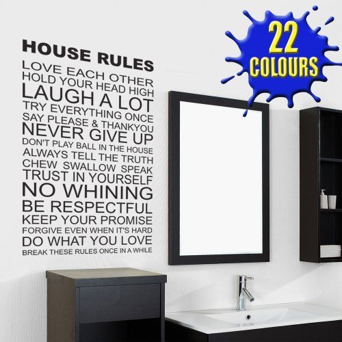 House Rules - Wall Decal Sticker Quote lounge living room bedroom by ...