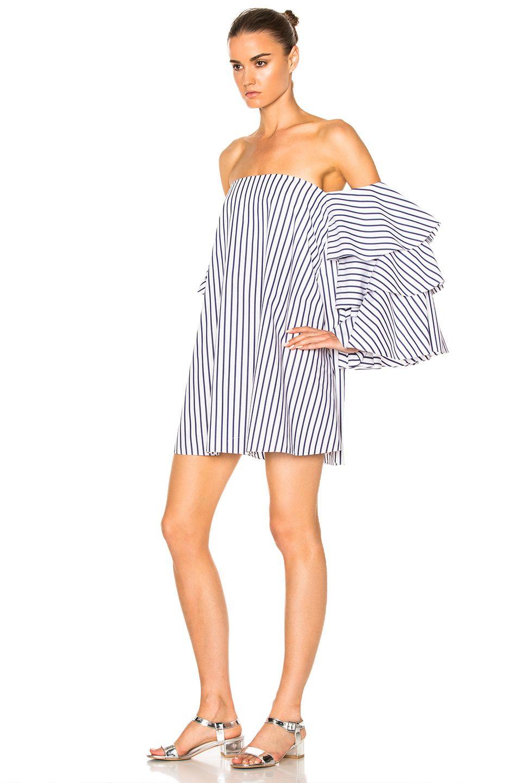 Caroline Constas Carmen Dress in Blue & White FWRD