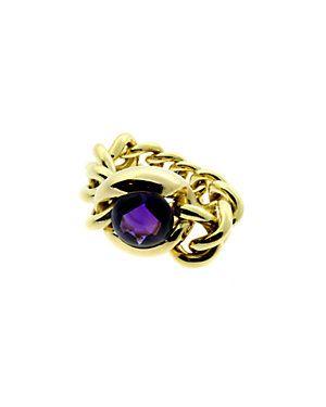 Chanel 18K Amethyst Chain Link Ring