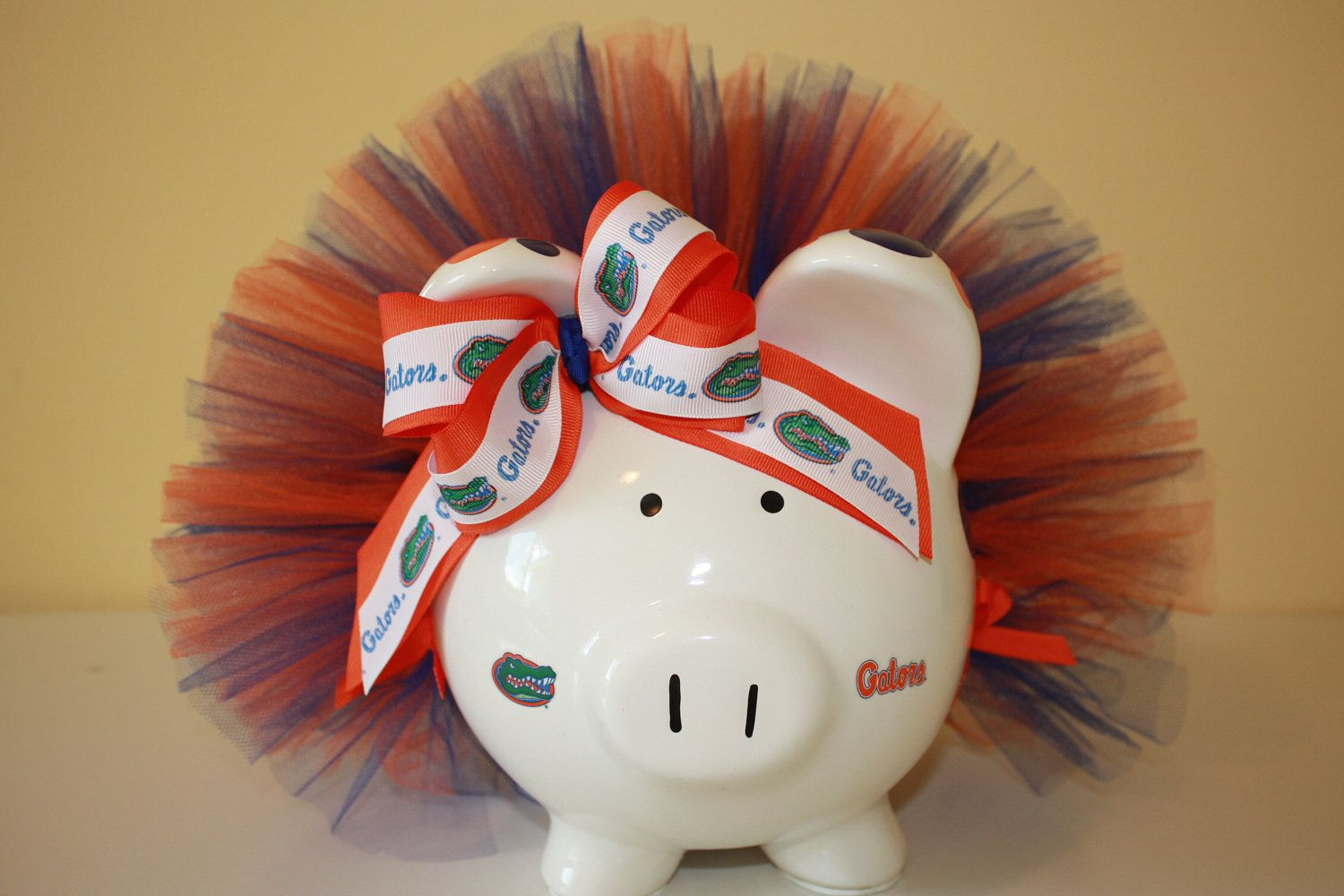Florida Gators Large Polka Dot Piggy Bank With Tutu So Cute