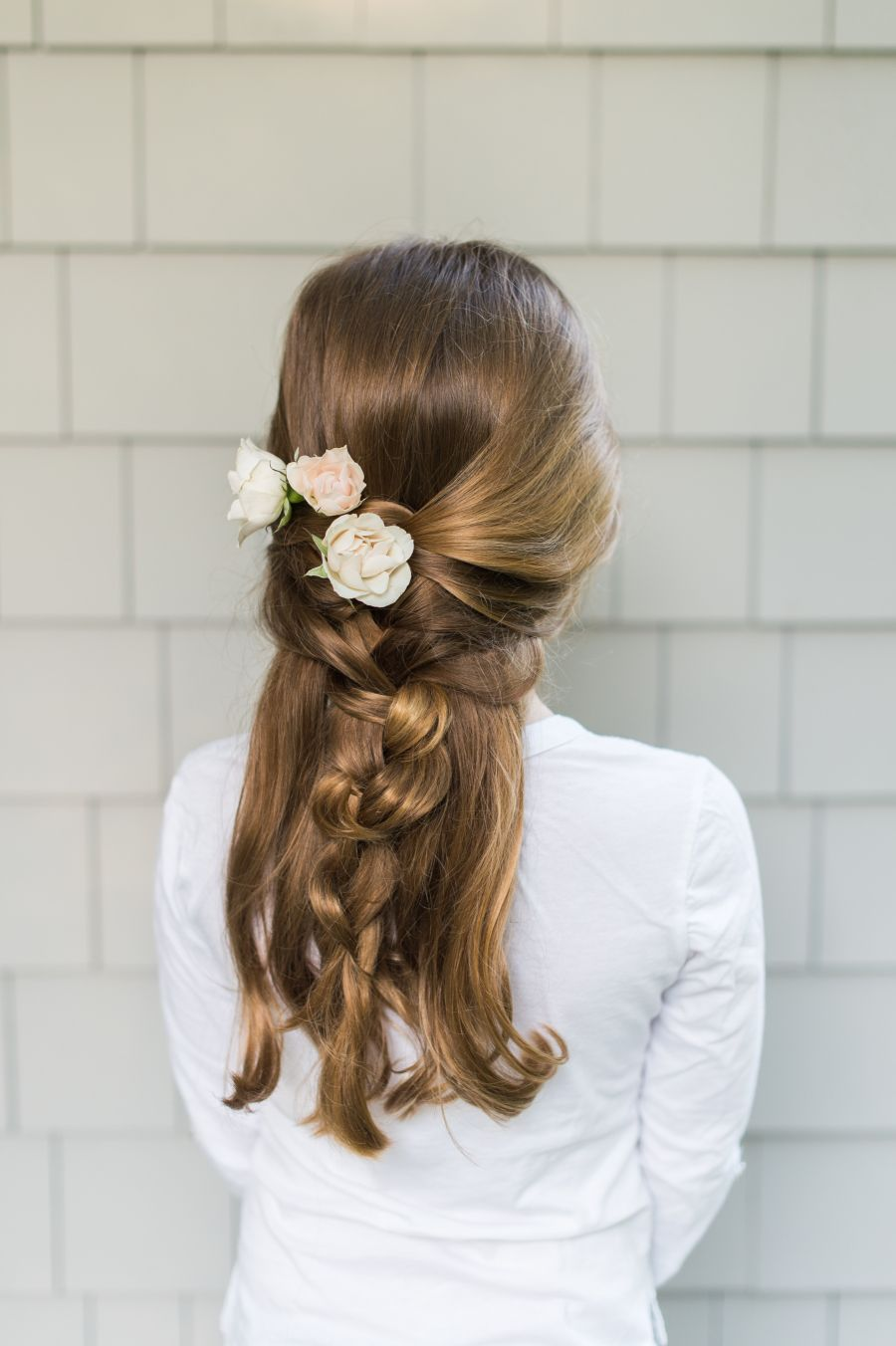 Adorable flowergirl braid hair style natural waves and bridal
