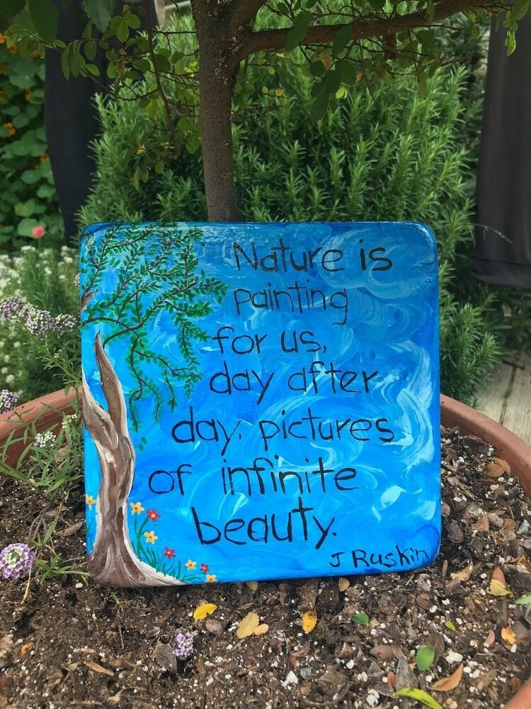 Handcrafted Cement Blue Square Wall Plaque With Tree Flowers Poem