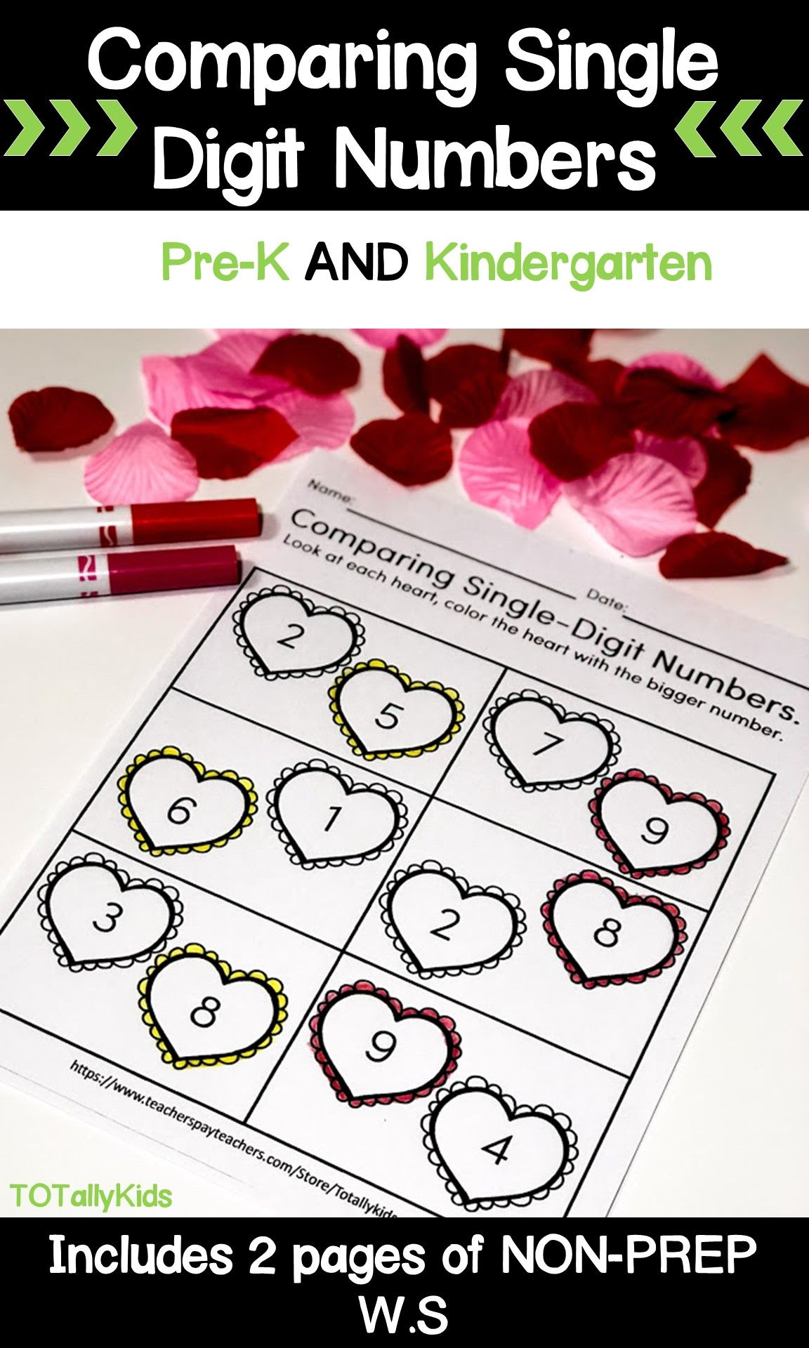 Valentines Comparing Numbers Single Digit