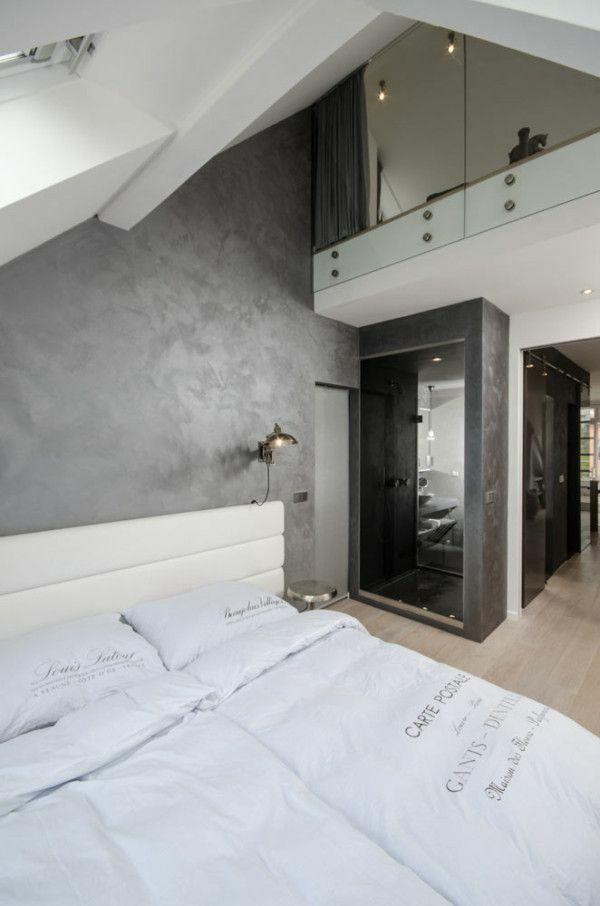 renoviertes dach schlafzimmer einrichtungsideen bett schräge decke - schlafzimmer mit schrge
