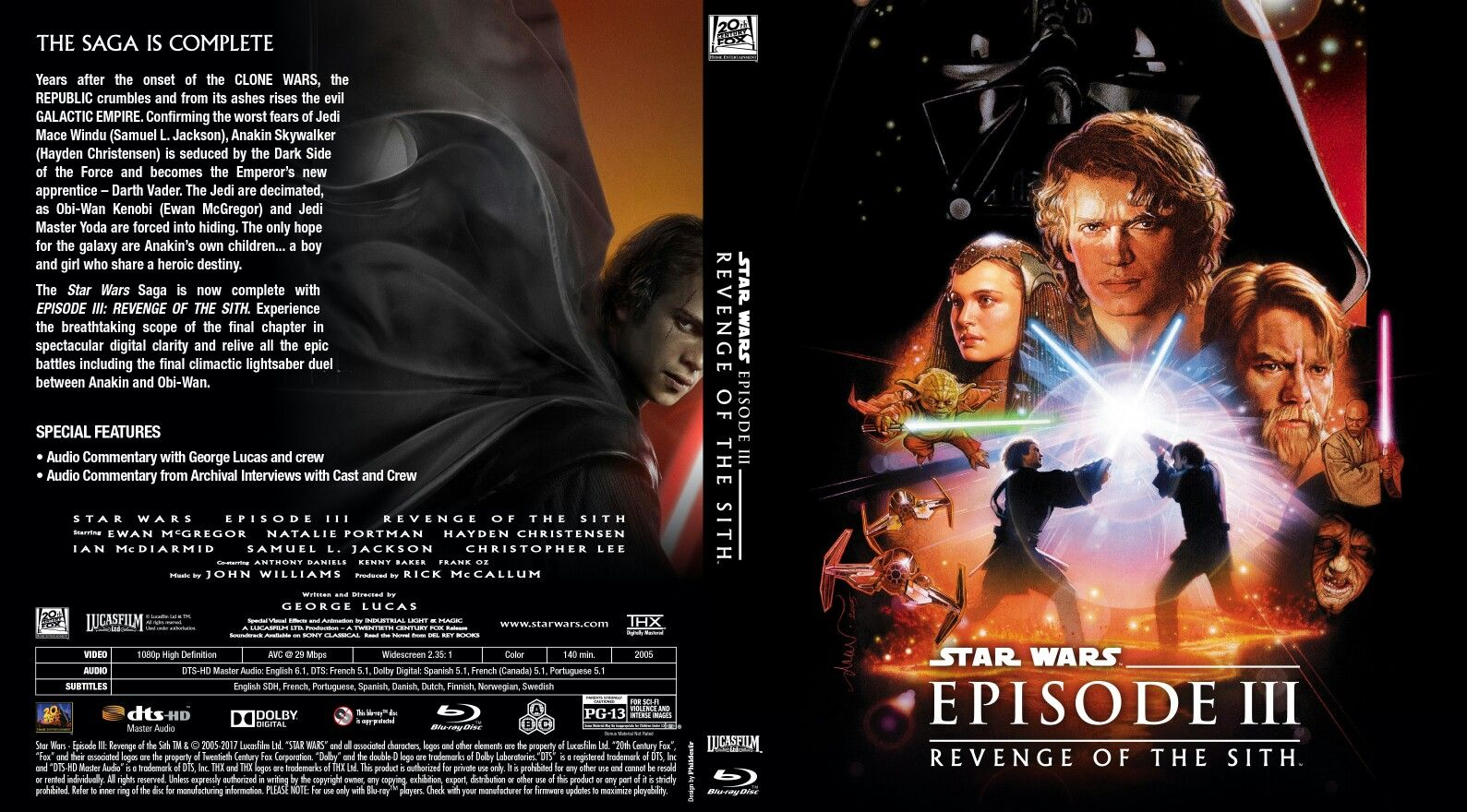 Custom Blu Ray Cover For Star Wars Episode Iii Revenge Of The Sith Star Wars Episodes Revenge For Stars