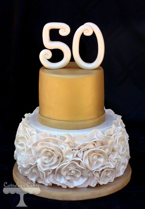 Excellent Ruffle Roses For 50Th Birthday Cake By Cuteologycakes On Cakes De Funny Birthday Cards Online Barepcheapnameinfo